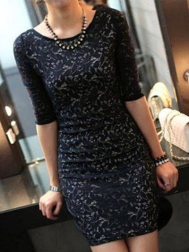 Embroidery Lace Hip Hugging Dress