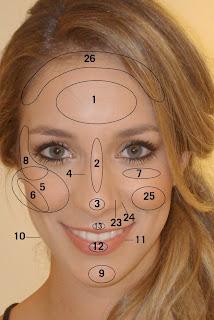 zonas do rosto a maquilhar
