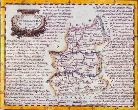 Mapa antiguo de Extremadura