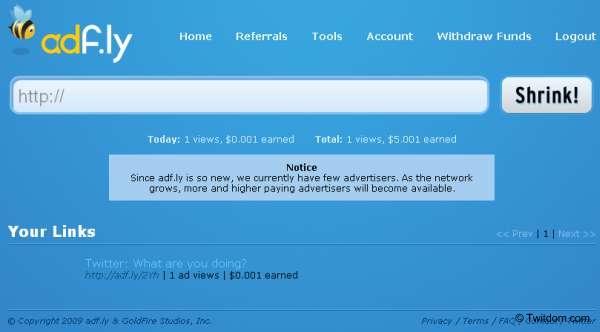 Earn Lots of Money by URL Shortening Service