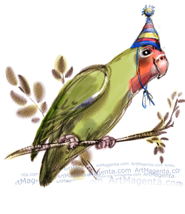 Lovebird fun card by Artmagenta
