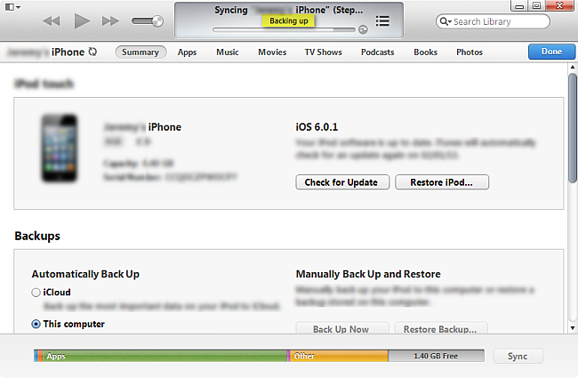 backup iphone sms itunes