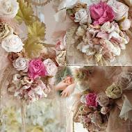 Nieuwe Kransen met handgemaakte rozen van oud lint en kant, naar voorbeeld uit een antiek boek.