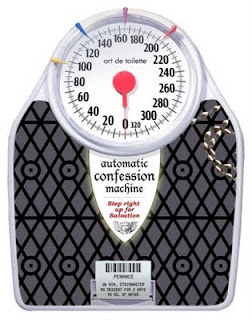 "a black scale with a large white dial for measuring weight. On it is written, ""Automatic Confession Machine."""