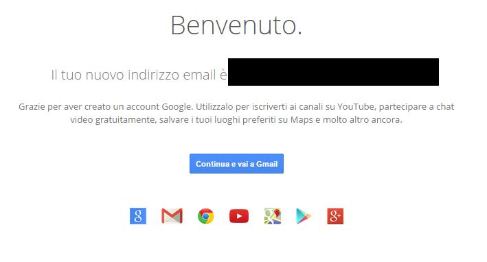 Indirizzo e-mail creato con Gmail