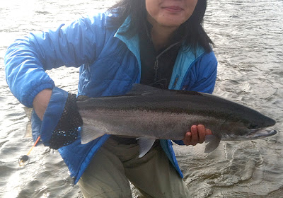 Flygirl Hyun Kounne with first Salmon river steelhead