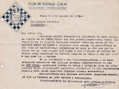 Carta del Club Ajedrez Calaf en 1950