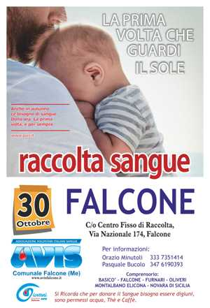 RACCOLTA SANGUE 30 OTTOBRE A FALCONE NEL CENTRO FISSO DI RACCOLTA IN VIA NAZIONALE, 174