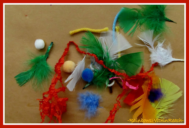 photo of: Feathers in Preschool for Thanksgiving Art Project via RainbowsWithinReach