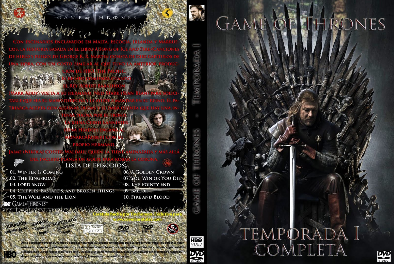 game of thrones season 1 dvd cover. Black Bedroom Furniture Sets. Home Design Ideas