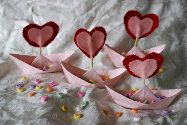 Origami And Felt Valentines Day Boats Flickr Photo Sharing Origami Table  Decorations Valentines