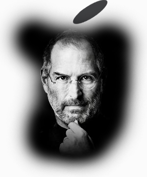 Steve Jobs in black apple shape with white background