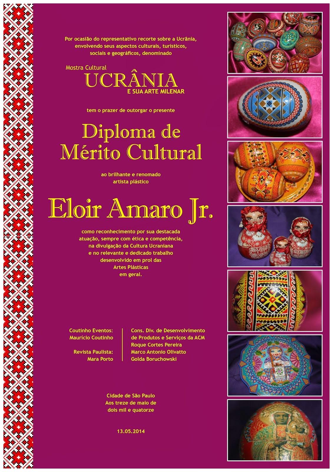 Diploma de Mérito Cultural recebido em São Paulo.