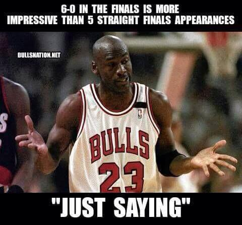 "6-0 in the finals is more impressive than 5 straight finals appearances ""just saying"""