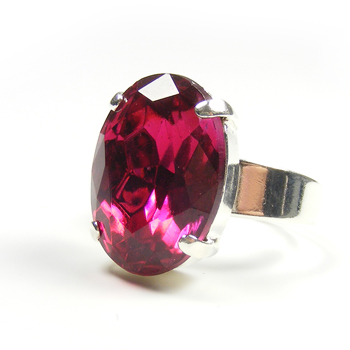 Fuchsia Pink Vintage Crystal Statement Ring by Blucha Jewels