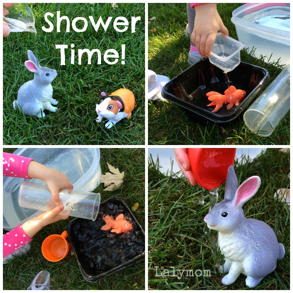 pouring practice activities for kids using plastic animals fine