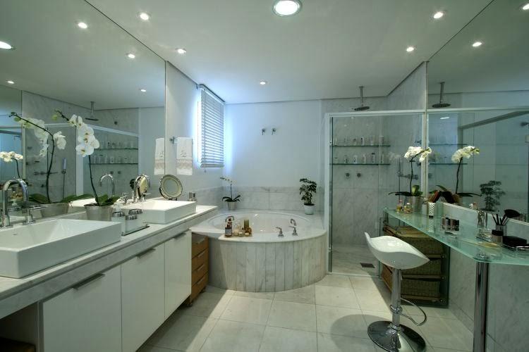 25 Banheiros com bancadas de maquiagem  veja modelos lindos e modernos!  De -> Pia De Banheiro Cassol