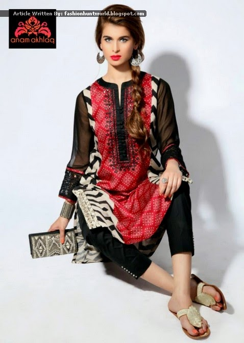 Pakistani Casual Semi Formal Wear Dresses 2015 2016 By Anam Akhlaq