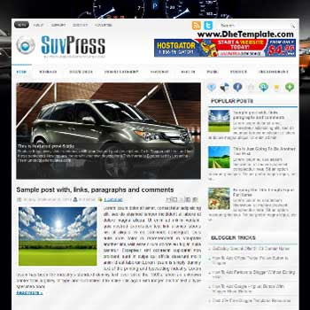 SuvPress blog template. template image slider blog. magazine blogger template style. blogger template for car blog