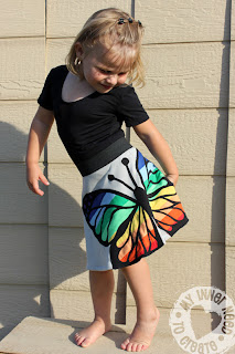 Applique Rainbow Butterfly Skirt