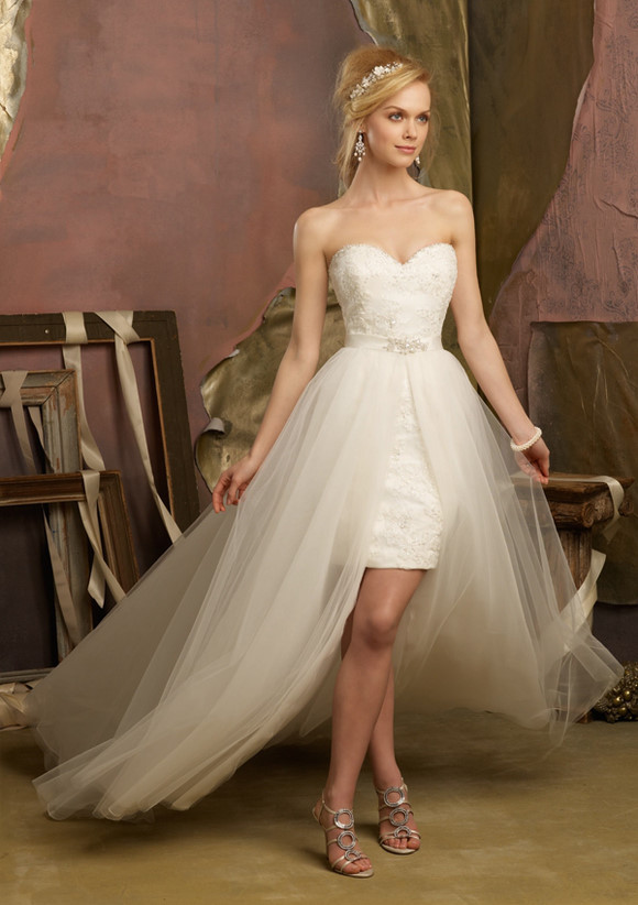 Honey Buy Short Front Long Back Wedding Dresses