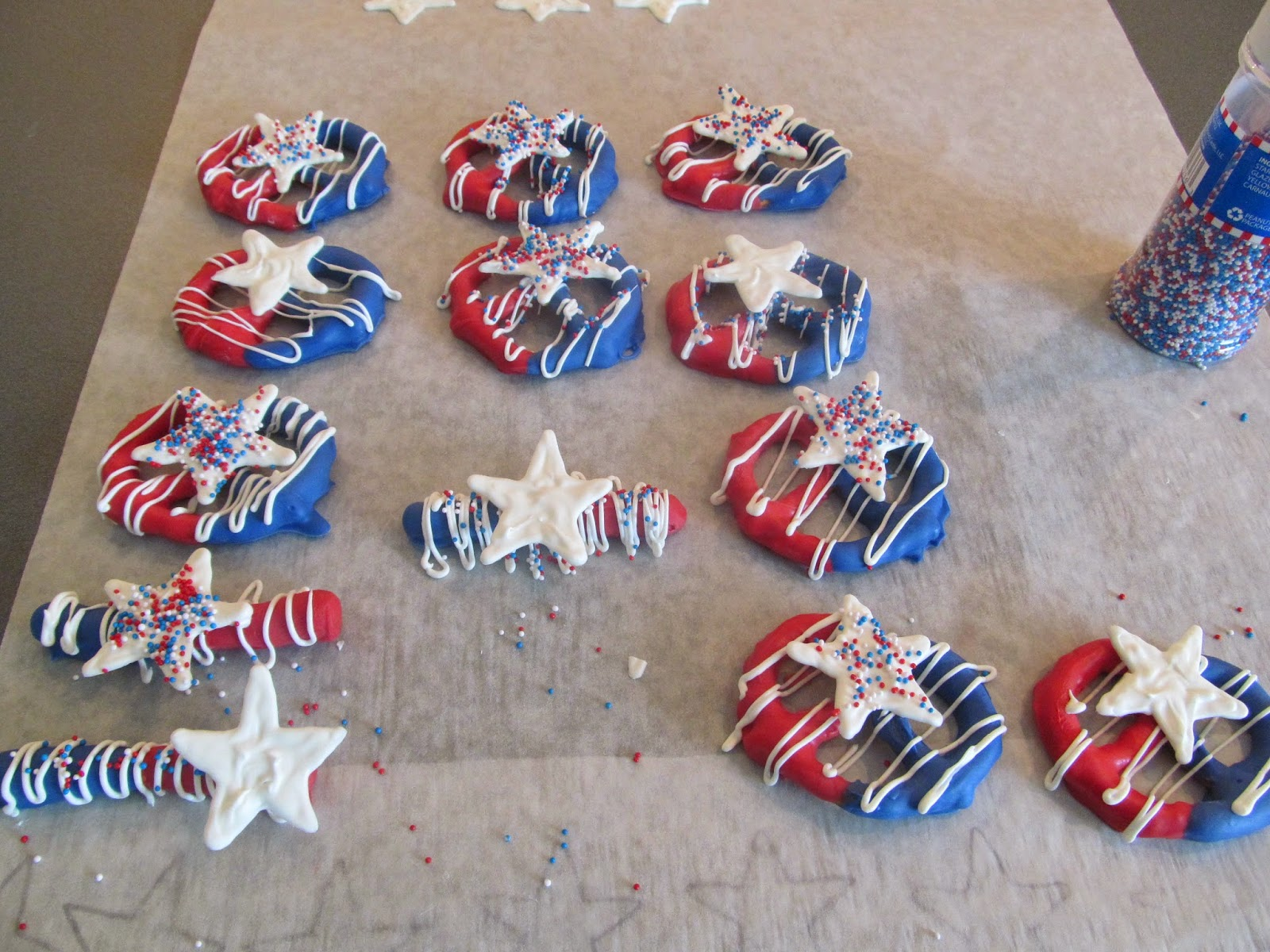 Red, White, and Blue pretzels