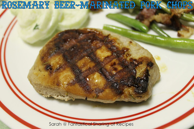 Rosemary Beer Marinated Pork Chops. The rosemary and beer pair together nicely with the pork! #pork #beer #manfood