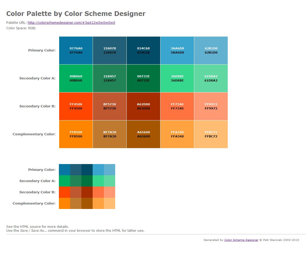 web page color scheme - multimedia design may 2012