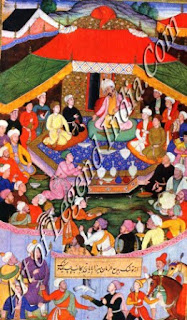 Stage Set for a Meeting Between Babur and the Mirzas