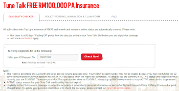 Topup with Tune Talk Minimum RM30, FREE RM100,000 PA Insurance