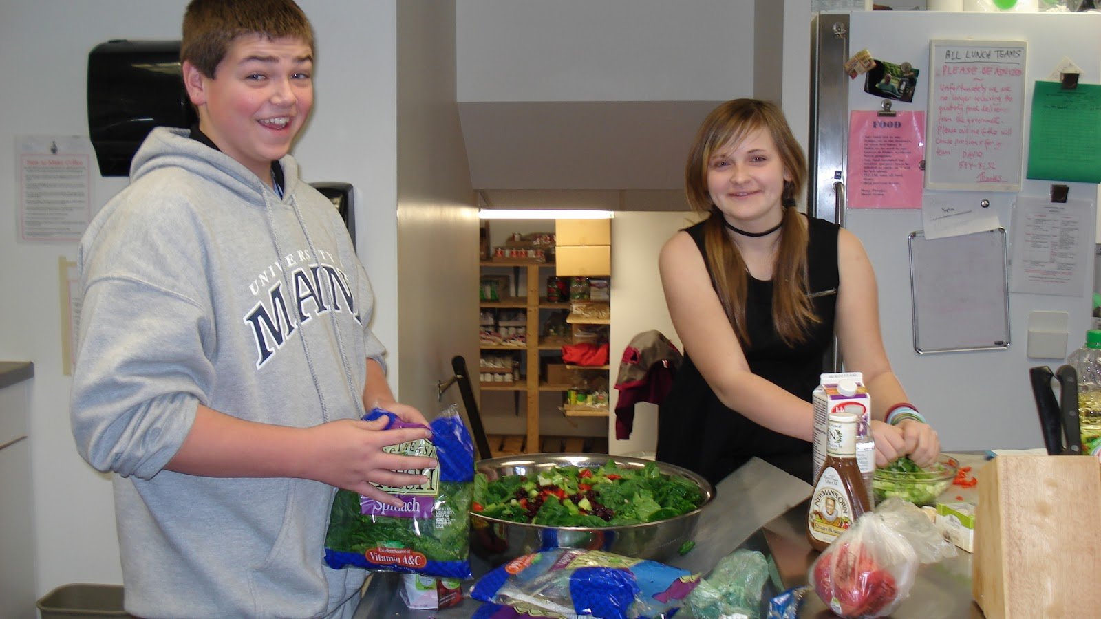Rocky coast news trekkers students spend veterans day for Loaves and fishes food pantry