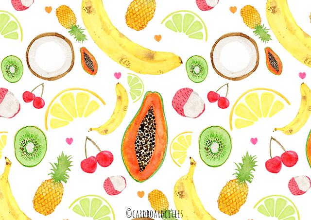 pattern with various fruit painted with watercolours