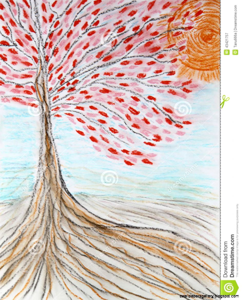 Beautiful Tree With Red Leaves And The Rising Sun Drawing Stock