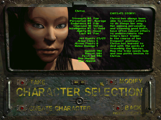 Fallout 2 character select screen Chitsa profile