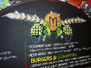 moon pub brewery canada wall menu board hand painted with brushes traditional signage dobell designs