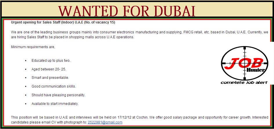 Sales Job Vacancies in Dubai - Jobhunferfb