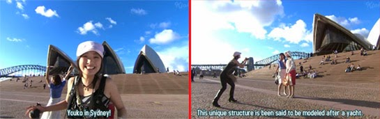 Misaki takes turns being filmed and then filming Wakamura and Sekiyama in front of the Sydney Opera House.