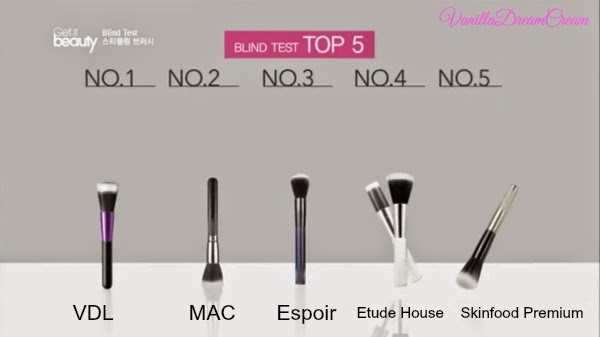 top five stippling brush are from brand VDL, MAC, Espoir, Etude House, Skinfood Premium