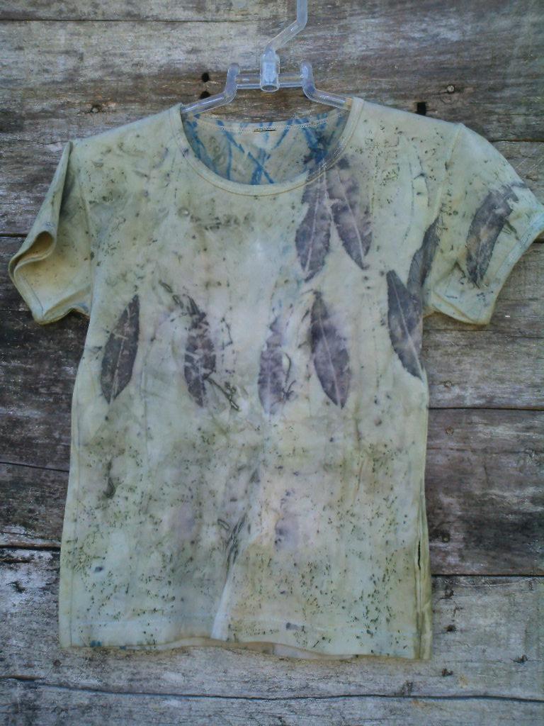 camiseta de algodão estampada artesanalmente