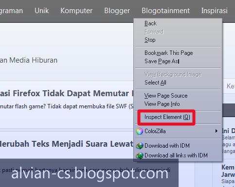 inspect element, mendesain css web