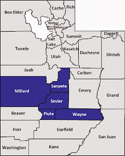 Millard, Piute, Sanpete, Sevier and Wayne counties