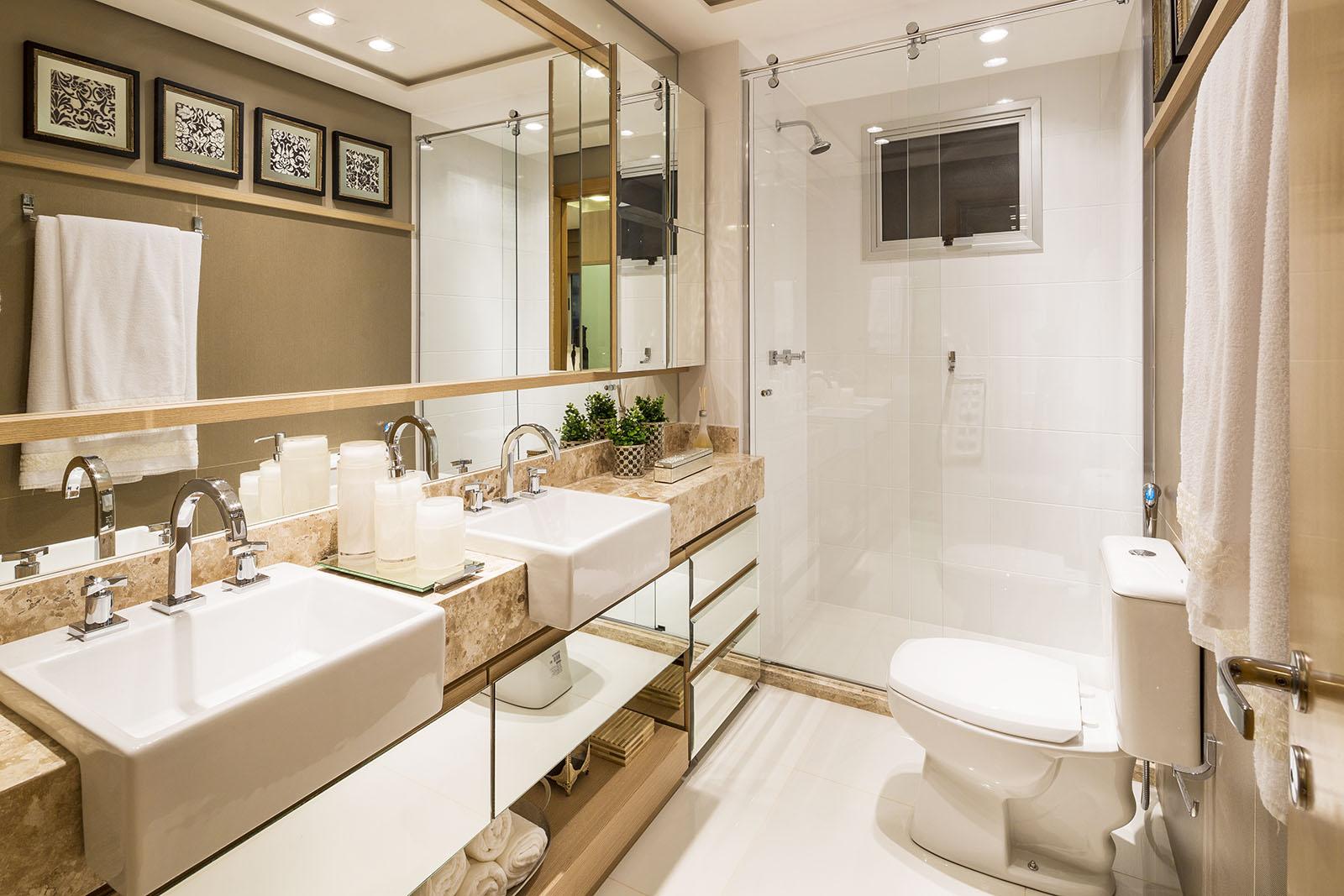 Construindo Minha Casa Clean 10 Banheiros Modernos com Armários Espelhados!  -> Banheiro Decorado Ap