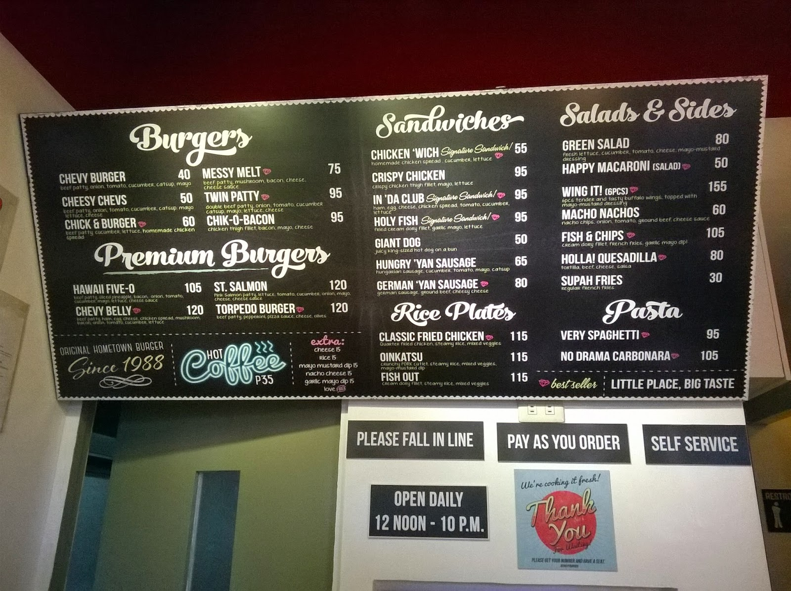 Chevy Burger Antipolo menu