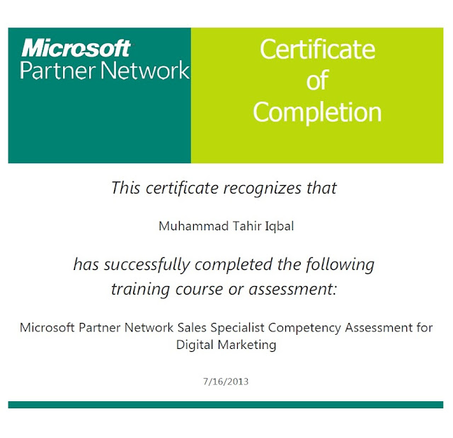 Microsoft Partner Network Sales Specialist Competency Assessment for Digital Marketing