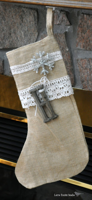 burlap stockings that you can decorated yourself | Lorrie Everitt Studio