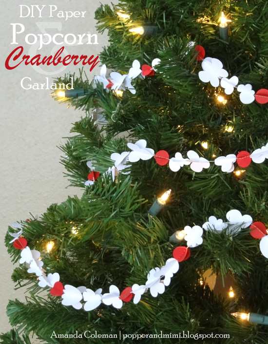 Paper Popcorn & Cranberry Garland