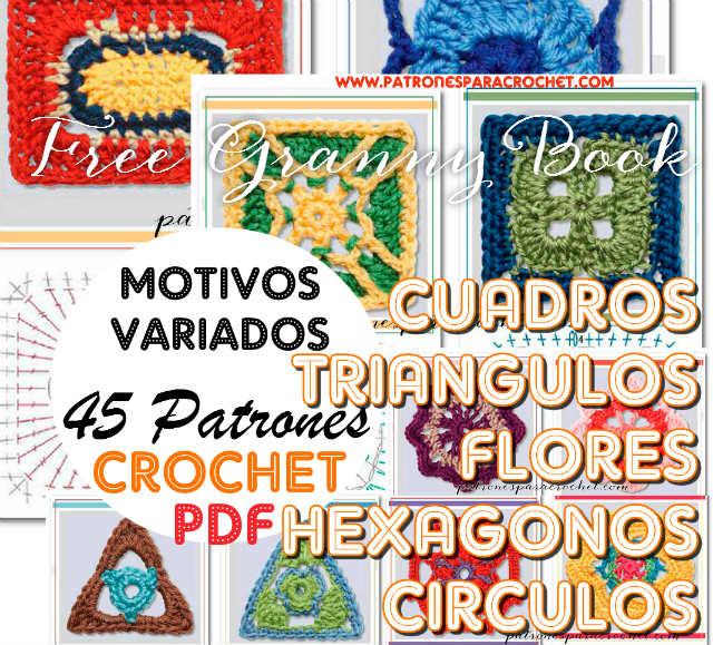 45 Motivos Crochet + 3 Enciclopedias de Patrones Crochet / Patrones ...