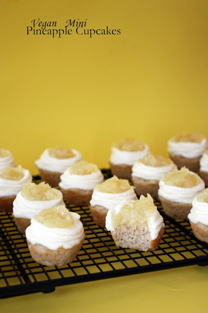 vegan mini pineapple cupcakes