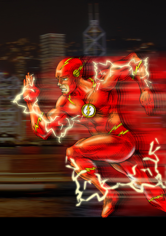Drawing of DC Comics he Flash by Darian Robbins