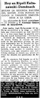 Recortes de Prensa de La Vanguardia sobre el Match Doménech-Koltanowski, 1948